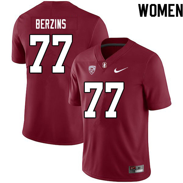 Women #77 Logan Berzins Stanford Cardinal College Football Jerseys Sale-Cardinal